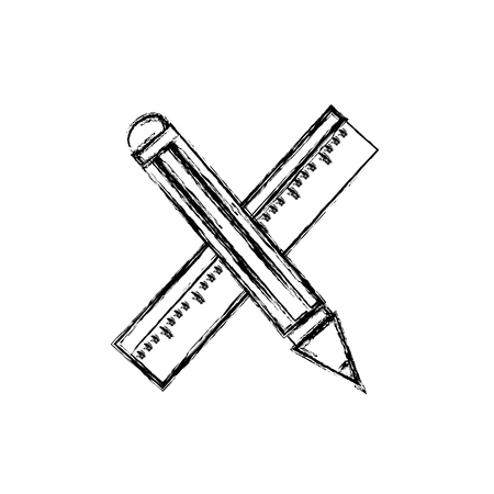 Figure ruler and pencil school tool education vector illustration