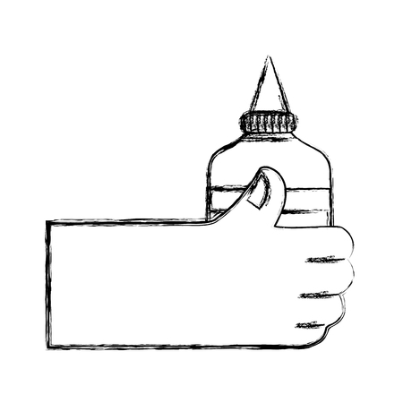 figure hand with glue school tool to study Ilustração