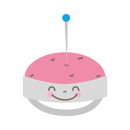 Colorful cute happy pin cushion vector illustration