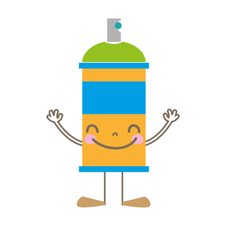 colorful happy aerosol spray with arms and legs
