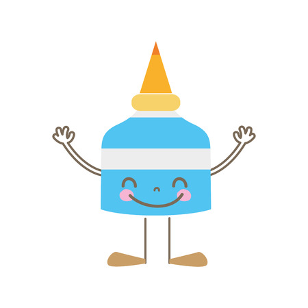 Colorful happy glue bottle with arms and legs Illustration