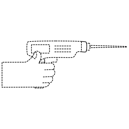 dotted shape hand with drill equipment repair service