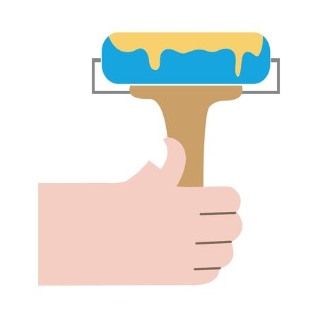 Colorful hand with paint roller tool vector illustration