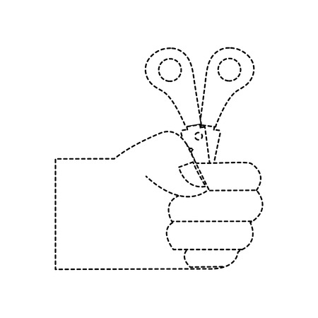 dotted shape hand with scissors school tool education