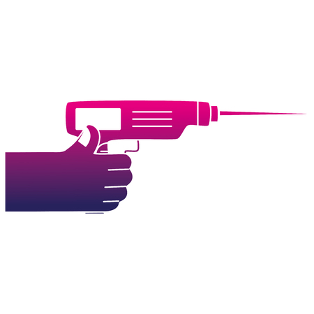 silhouette hand with drill equipment repair service