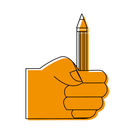color hand with pencil school utensil to study