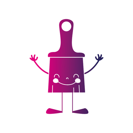 silhouette happy brush object with arms and legs