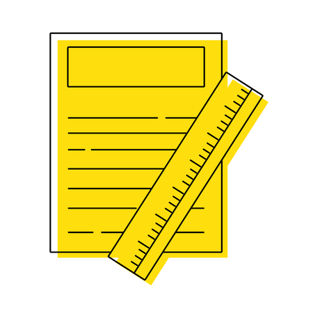 color paper document with ruler object design