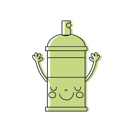 color emoji cute happy aerosol spray Illustration
