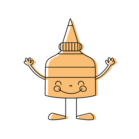 color happy glue bottle with arms and legs