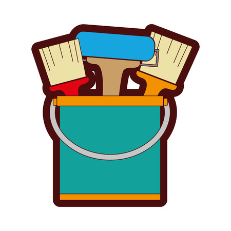 Line color paint can with painter tools inside in cartoon illustration.