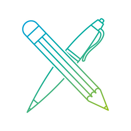 Pencil and pen of tool write and office theme Isolated design Vector illustration