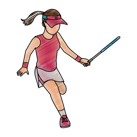 Tennis player of sport competition and game theme Isolated design Vector illustration