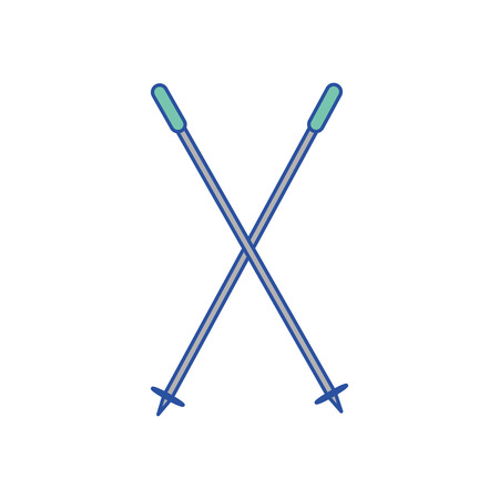 Ski poles of winter sport and hobby theme Isolated design Vector illustration