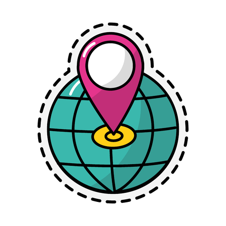 Gps and global sphere of travel navigation and route theme Isolated design Vector illustration