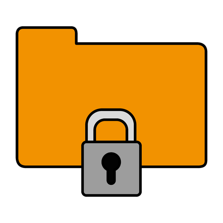 File and padlock of document data and archive theme Isolated design Vector illustration