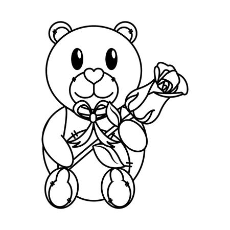 Teddy bear of toy gift and lovely theme Isolated design Vector illustration