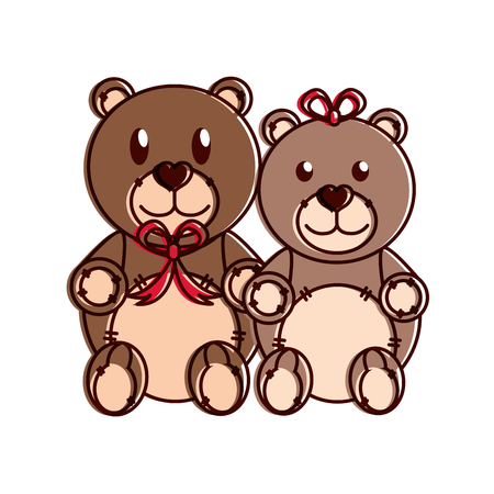 Teddy bear couple design