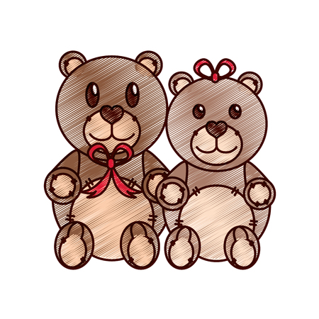 Teddy bear couple of toy gift and lovely theme Isolated design Vector illustration Çizim