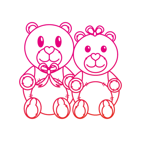 Teddy bear couple of toy gift and lovely theme Isolated design Vector illustration Illustration