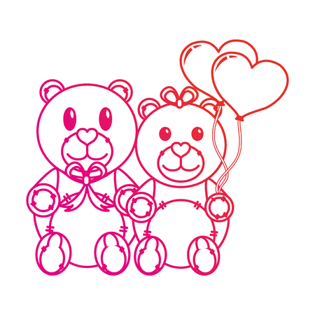 Teddy bear couple of toy gift and lovely theme Isolated design Vector illustration Ilustrace