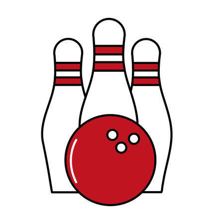 Pines and ball of bowling sport and game theme Isolated design Vector illustration Vectores