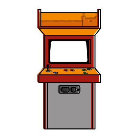 Arcade machine of videogame play retro and technology theme Isolated design Vector illustration Ilustração