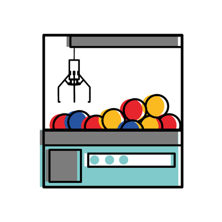 Claw machine of toy game and play theme Isolated design Vector illustration
