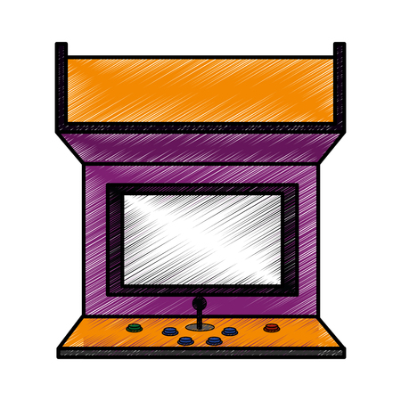 Arcade machine of videogame play retro and technology theme Isolated design Vector illustration  イラスト・ベクター素材