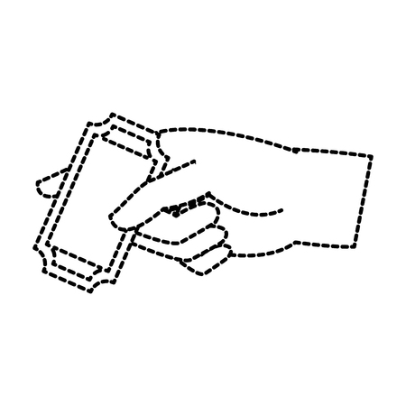 Hand holding a ticket in a dotted illustration isolated on white background.
