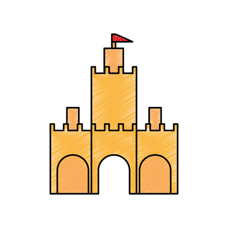 Castle design on white background, vector illustration.