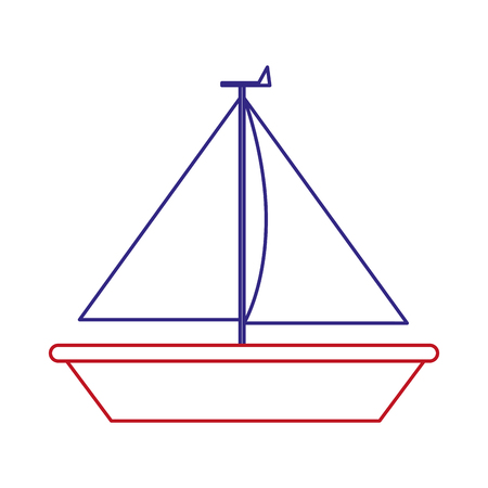 Sailboat of boat sail and ship theme Isolated design Vector illustration Illustration