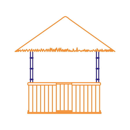 Hut of beach house and summer theme Isolated design Vector illustration