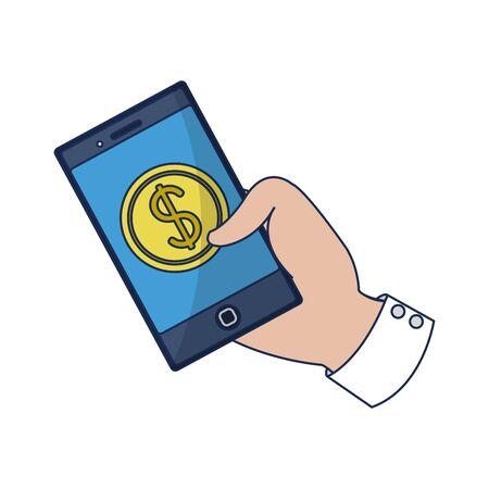 Bitcoin inside smartphone design Ilustração
