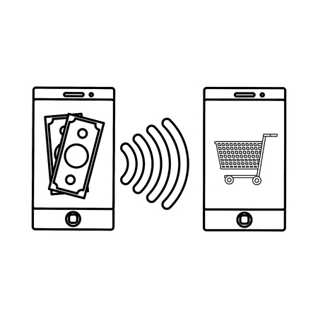 Smartphone of shopping commerce and market theme Isolated design Vector illustration Illustration