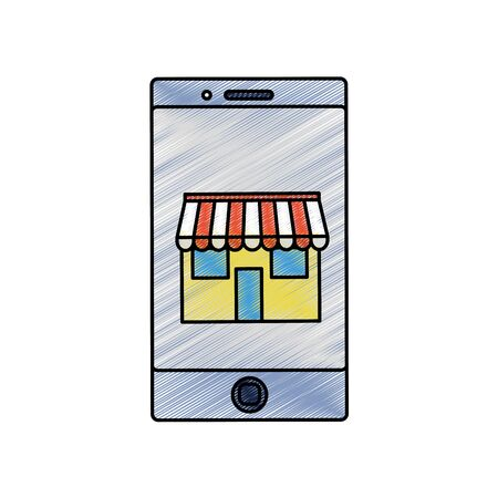 Isolated smartphone design of a store