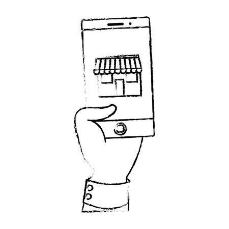 Smartphone of shopping commerce and market theme Isolated design Vector illustration Ilustração