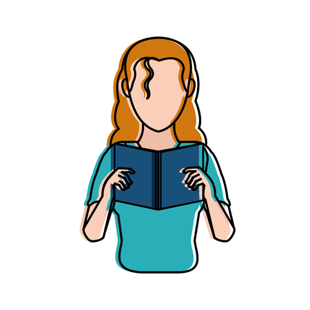 Woman reading of education literature and read theme Isolated design Vector illustration Vettoriali