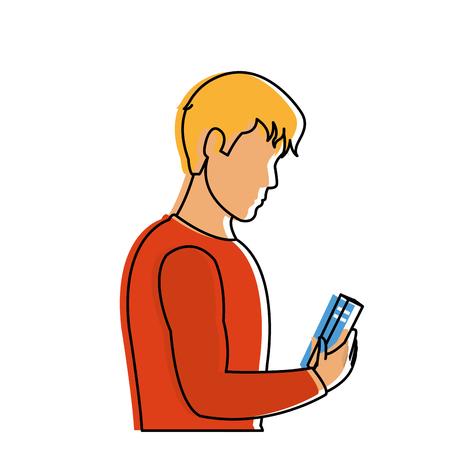 Man reading design illustration.
