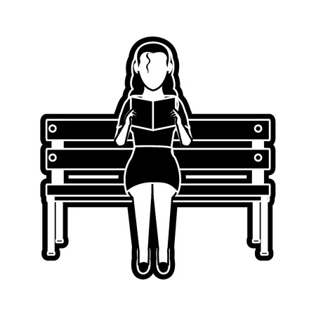 Woman reading design illustration. 일러스트
