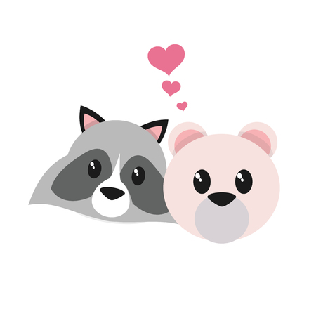 Raccoon and bear cartoon of cute animal and adorable creature theme Isolated design Vector illustration
