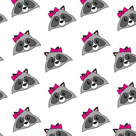 Raccoon cartoon background Иллюстрация
