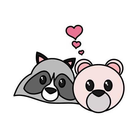 Raccoon and bear cartoon design Illustration