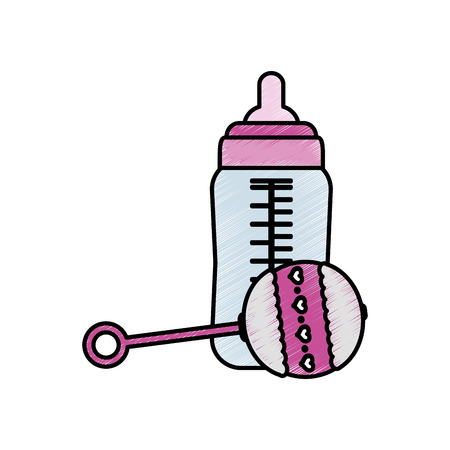Bottle and maraca of baby object and childhood theme Isolated design Vector illustration
