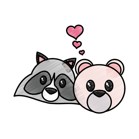 Bear and raccoon cartoon of cute animal and adorable creature theme Isolated design Vector illustration