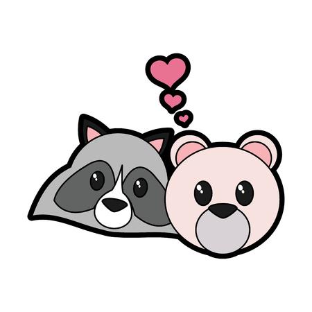 Bear and raccoon cartoon Vector illustration.