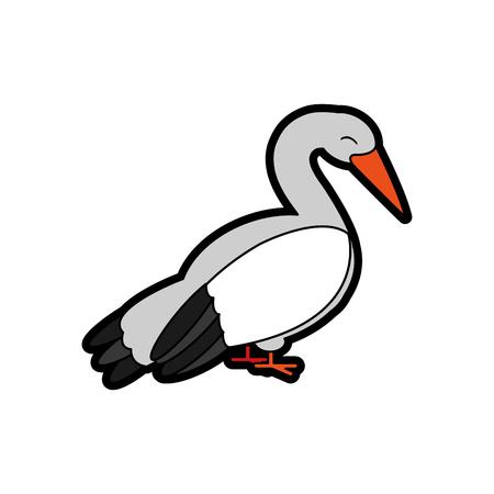 Stork cartoon design Vector illustration.