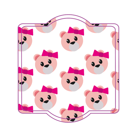 Bear cartoon frame of cute animal and adorable creature theme Isolated design Vector illustration