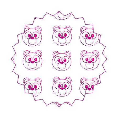 Bear cartoon seal stamp Vector illustration.