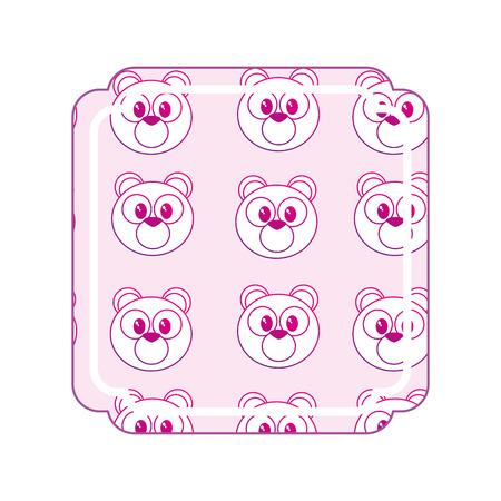 Bear cartoon frame of cute animal and adorable creature theme Isolated design Vector illustration